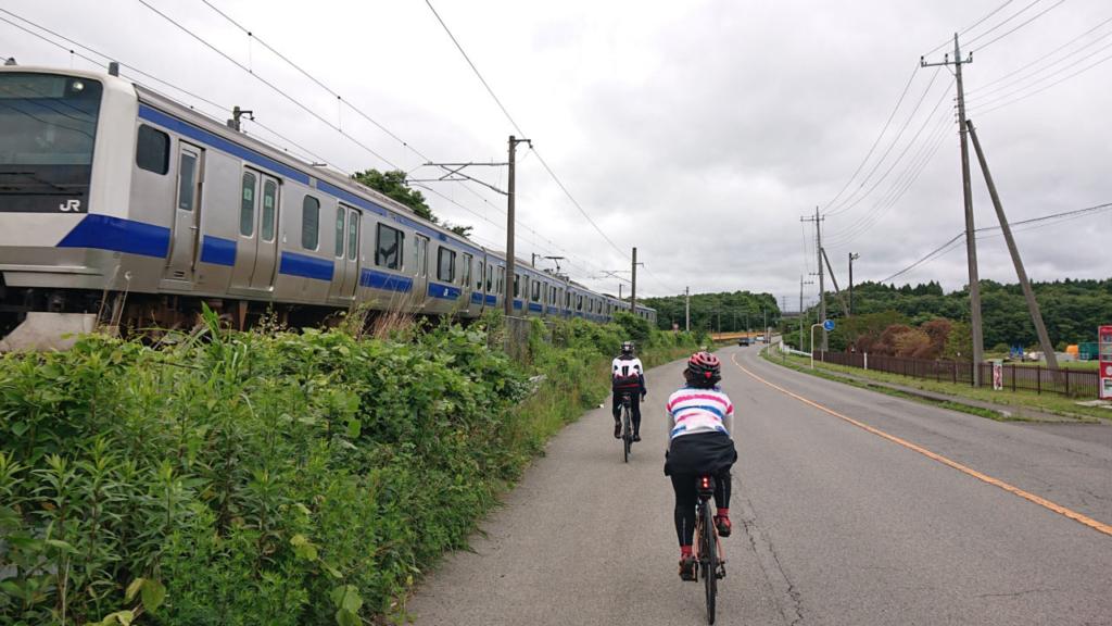 自然と電車とロードバイク