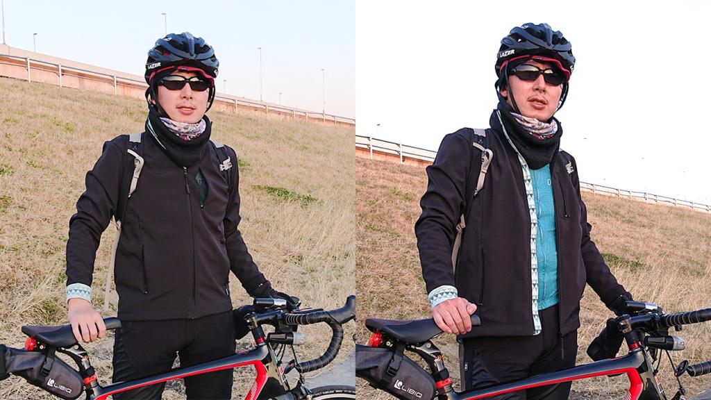 割とストレートなシルエットの冬物サイクルウェア
