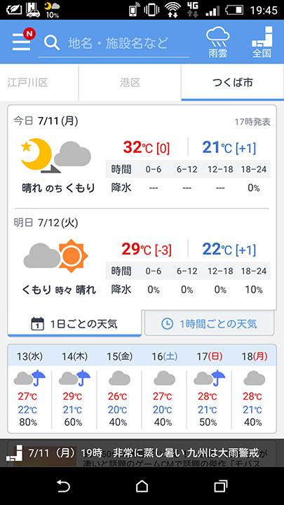 「のち」か「ときどき」か、雨は何曜日の予報か