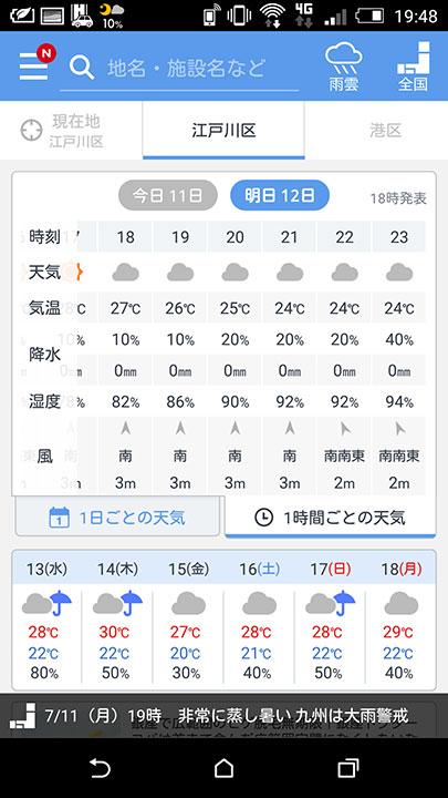 1時間区切りで天気が見れる天気予報。何と風向きも表示されます