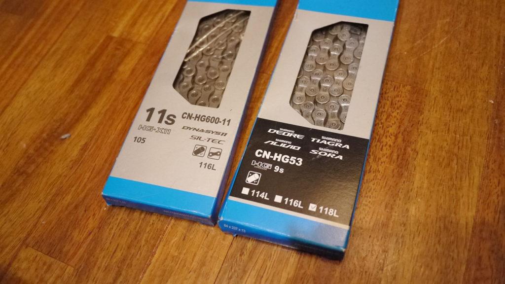 チェーンのパッケージにはグレードと対応するスプロケの表記が書いてある